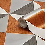 Colours Copper, navy & pewter Mosaic geometric Metallic effect Smooth Wallpaper