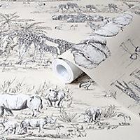 Colours Cream Animal safari Metallic effect Smooth Wallpaper
