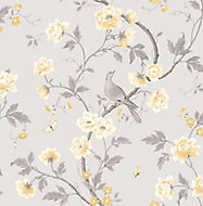 Colours Dorthea Grey & yellow Floral Mica effect Smooth Wallpaper