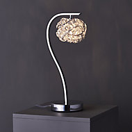 Colours Emelia Matt Chrome effect Incandescent Table lamp