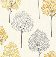 Colours Eula Grey & yellow Tree Smooth Wallpaper
