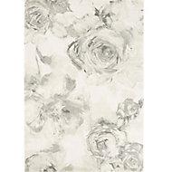 Colours Florelle Floral Cream & grey Rug (L)2.3m (W)1.6m