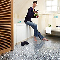 Colours Flutina Blue Mosaic effect Vinyl flooring, 6m²