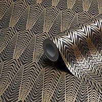 Colours Gatsby Black & gold Art deco Metallic Wallpaper