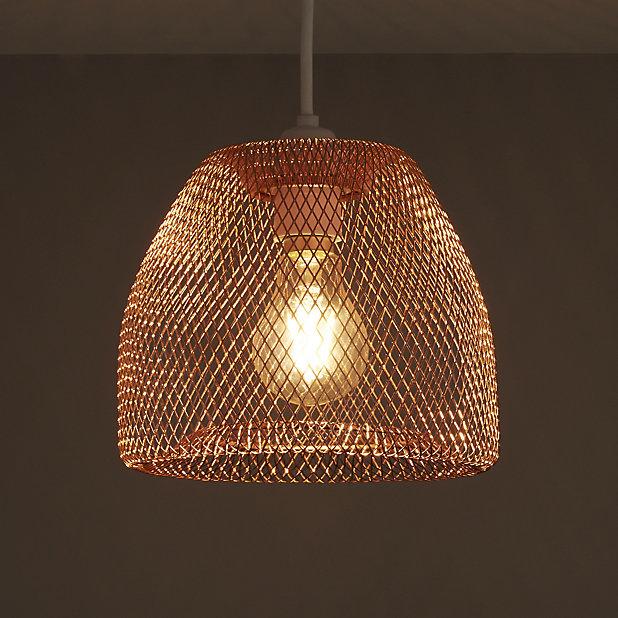 Colours Gatun Copper Effect Wire Light, Copper Mesh Lamp Shade