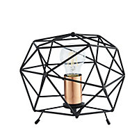 Colours Geo Geometric Matt Black Incandescent Table lamp