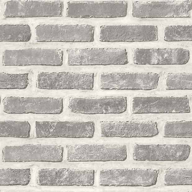 Colours Grey Brick Embossed Wallpaper Diy At B Q