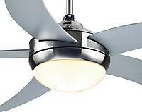 Colours Hanki Modern Brushed Chrome effect Ceiling fan light