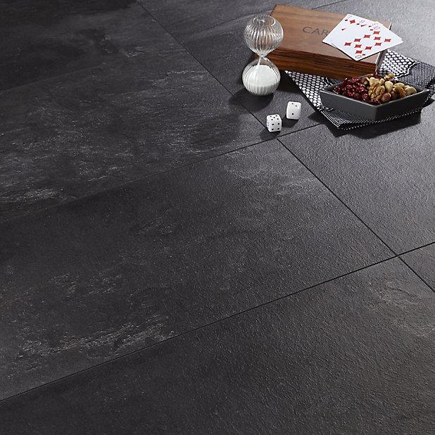 Colours Harmonia Black Slate Effect, Cement Effect Laminate Flooring