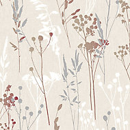 Colours Hayfield Cream & red Thistle Textured Wallpaper