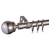 Colours Hera Stainless steel effect Fixed Curtain pole, (L)3m