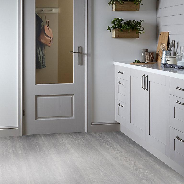 White Wood Effect Vinyl Flooring 6m², White Linoleum Flooring