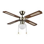 Colours Lari Traditional Antique brass effect Ceiling fan light