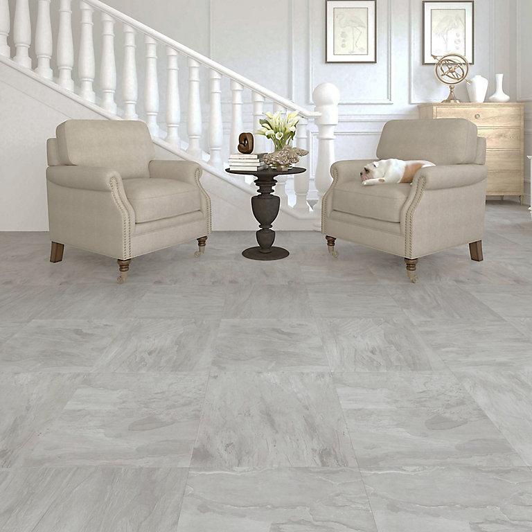 Colours Leggiero Light Grey Slate, Stone Tile Effect Laminate Flooring