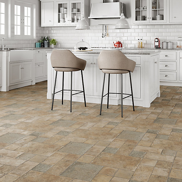 Colours Leggiero Stone Effect Laminate, Laminate Tile Flooring Kitchen