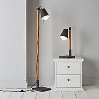 Colours Liber Black Wood effect Incandescent Floor lamp