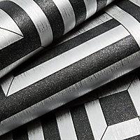 Colours Maze Black Geometric Glitter effect Wallpaper