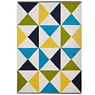 Colours Meghan Geometric Blue, green & yellow Rug (L)2.3m (W)1.6m