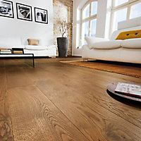Colours Monito Natural Oak effect Real wood top layer flooring, 1.69m² Pack