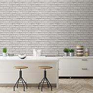 Colours Off white Brick effect Blown Wallpaper