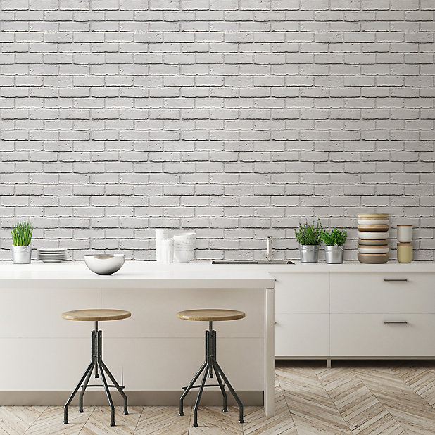 Colours Off White Brick Effect Blown Wallpaper Diy At B Q