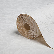 Colours Paintables White Scroll Blown Wallpaper