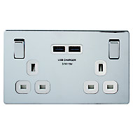 Colours Polished chrome effect Double USB socket, 2 x 3.1A USB