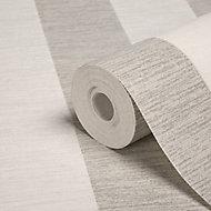 Colours Shimmer White Striped Silver glitter effect Textured Wallpaper