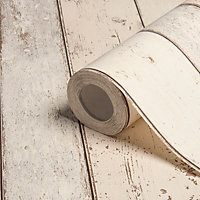 Colours Shoreline Beige Timber cladding Wood effect Textured Wallpaper