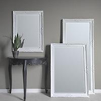 Colours Tibertus White Rectangular Framed Mirror (H)780mm (W)580mm