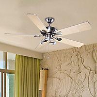 Colours Tioga Modern Brushed Chrome effect Ceiling fan light