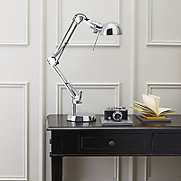 Colours Tutti Matt Chrome effect Incandescent Desk lamp