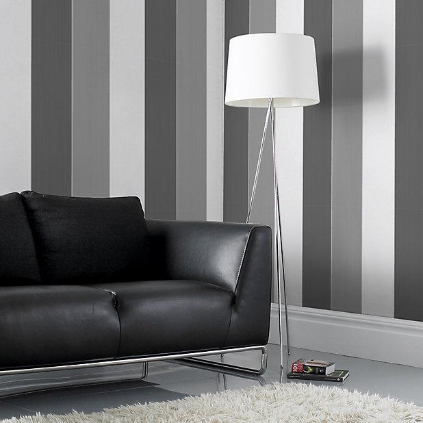 Colours Unity Grey & white Striped