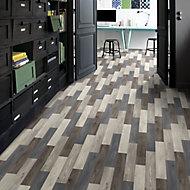 Colours Vinyl rolls Blue & grey Wood effect Vinyl Flooring, 4m²