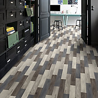 Colours Vinyl rolls Blue & grey Wood effect Vinyl Flooring, 6m²