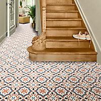 Colours Vinyl rolls Orange, light blue & grey Mosaic Tile effect Vinyl Flooring, 6m²