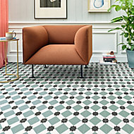 Colours Vinyl rolls Teal & black Mosaic Tile effect Vinyl Flooring, 6m²