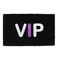 Colours VIP Black, purple & white Coir Door mat (L)0.75m (W)0.45m