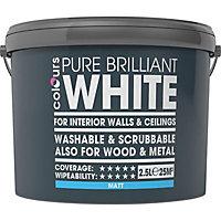Colours Washable & Scrubbable White Matt Emulsion paint 2.5L