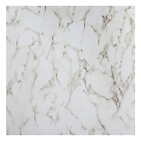 Colours White Marble effect Self adhesive Vinyl tile, 1.02m² Pack