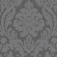 Colours Zara Charcoal Damask Glitter effect Embossed Wallpaper