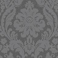 Colours Zara Charcoal Glitter effect Embossed Wallpaper