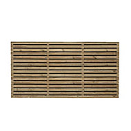 Contemporary Double slatted Fence panel (W)1.8m (H)0.9m, Pack of 4