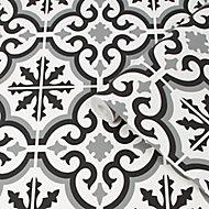 Contour Grecian Black & white Tile effect Textured Wallpaper