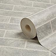 Contour Grey Brick effect Blown Wallpaper