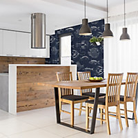 Contour Into the deep Navy & white Oceanic Textured Wallpaper