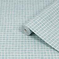 Contour Spectrum Duck egg Mosaic Tile effect Textured Wallpaper