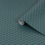 Contour Teal Hexagon lattice Tile effect Textured Wallpaper