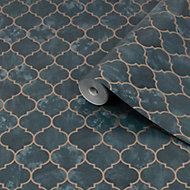 Contour Tegula Teal Geometric Copper effect Textured Wallpaper
