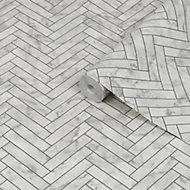 Contour White Marble chevron Tile effect Textured Wallpaper